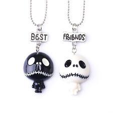 """2PCs Kids """"Best Friends"""" Halloween Necklaces Black White Skulls Pendant Necklace"""
