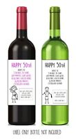 Funny, alternative, sarcastic, WINE LABEL. 50th birthday. Present/Gift. Him/Her