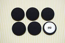 6 Cotton Solid Black Color Fabric Covered Buttons - 30mm