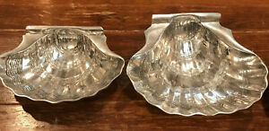 2 LARGE Clam Shell Shaped Pewter Serving Bowls 3X9X13 AND 4X14X13 Seafood Serv