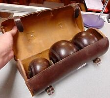 Vintage Pair of Crown Green Bowls with Jack in Leather Case