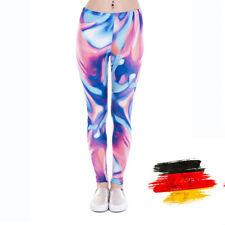 Damen Color flow Muster bedruckte Sport Leggings Leging Jeggings Legging Leggins