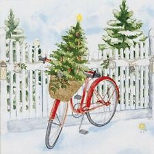4 Lunch Paper Napkins for Decoupage Craft Vintage Napkin  Christmas Bike