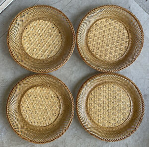 """4 Rattan Charger Woven Brown Tan cane Wicker Plate Placemat 10.5"""" Round Mcm Boho"""