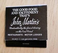 Matchbook Best Western John Martin's South Portland Maine Hotel Restaurant Rare