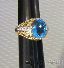 gold vermeil 4ct LONDON BLUE CZ RING sz 5 domed filigree crystal accents 925 8g