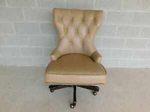 Hooker Seven Seas Leather Tufted Back Executive Desk Chair