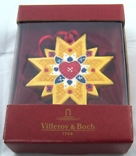 Villeroy & Boch Yellow Star Red Heart Ceramic NIB Ornament
