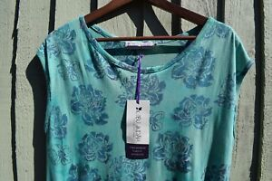 Ibu Indah Green Blue Floral Batik Print Tunic Dress Sleeveless Pockets CLEARANCE