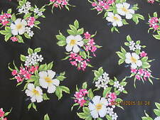 Hawaiian Quilting Fabric NEW! Black with Hibiscus  Oleander Bouquets FULL YARD
