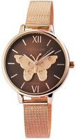 Excellanc Damenuhr Braun Rosègold Schmetterling Meshband Analog X1900098002