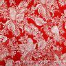BonEful FABRIC FQ Cotton Quilt Red White Tropical Island Bird Parrot Leaf Flower