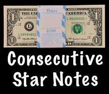 1999 San Francisco 1$ Consecutive Star Notes From BEP Strap Replacement UNC L4