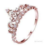 Dainty Rose Gold-plated Sterling Silver Princess Crown Ring - AZDBR5456RG-DN