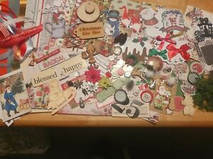 ,BUMPER  CHRISTMAS PACK ASSORTED EMBELLISHMENTS ,RIBBONS,CHARMS ,DIE CUTS& MORE