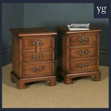 Pair of English Georgian Style Solid Oak Bedside Chests Tables Nightstands
