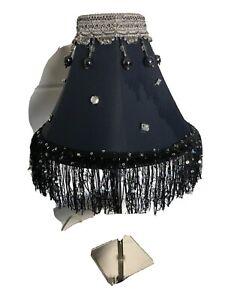 NAVY BLUE BEADED TASSLE SILVER TABLE LAMP