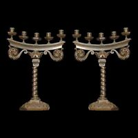 Pair of Antiqe French Bronze Candelabras #4104