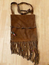 VINTAGE HIPPIE LEATHER LACED FRINGE BEADED BAG PURSE. GROOVY!