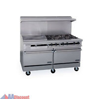 "NEW THERMA-TEK 60""GAS RANGE 6 BURNERS W / 24"" GRIDDLE 2 OVENS STOVE DCS"
