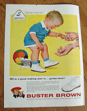 1959 Buster Brown Shoes Ad Baby Off to a good walking star in Guess What?