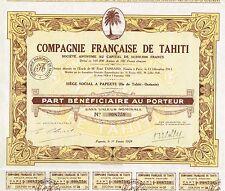 FRENCH POLYNESIA COMPANY OF TAHITI stock certificate 1929