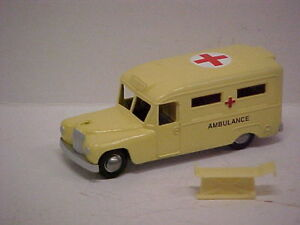 MODIFIED Budgie Toys Daimler Ambulance  painted in cream with plastic stretcher