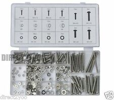 Toolzone 246pc Nuts Bolt Washer Set Grade 201 Stainless Steel Assort M3 M4 M5 M6