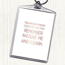Rose Gold I Learn Quote Bag Tag Keychain Keyring