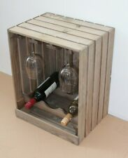 Wine Rack And Glass Holder Cabinet Wooden Apple Crate Style Vintage Brown