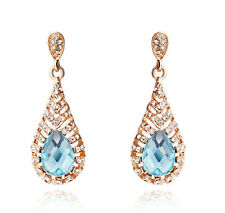 Vintage Style Gold and Ocean Blue Hollow Teardrop Drop Dangle Long Earrings E840