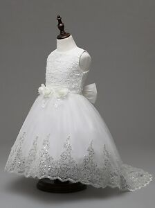 Lace Sequin Long Back Flower Girl Dress White size 120/4-5 Y
