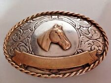 Vtg Handcrafted silver & Brass Steampunk Horse & Banner Belt Buckle Twisted rope