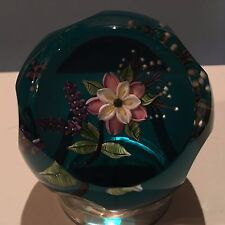 "William Manson ""Wild Rose Bouquet"" Pink Flowers Faceted Paperweight for Caithnes"
