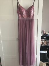 Mauve Pink Sequin And Tulle Bridesmaid Dress