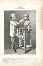 Jean-Antoine Houdon Sculpteur Modelant le Buste Napoléon Bonaparte GRAVURE 1888