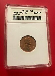 1963 D/D ONE CENT MS 65 RED RPM-9 ANACS OLD HOLDER