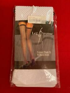 New White Thigh High Fishnet Stockings w Back Seam One Size Fits 90-160 Cos Play
