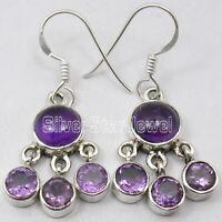 """925 Sterling Silver Amethyst Pierced Earrings 1.4"""" Handcrafted Jewelry"""