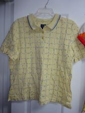 Country Club Golf by Koret Ladies Size Large Yellow with Blue Flowers SS Top