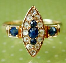 Victorian 18ct Gold Sapphire & Rose Cut Diamond Navette Ring