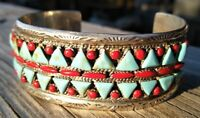 Sterling Silver Turquoise Red Coral Petite Point Cuff Bracelet 47.2 Gr Sgn 2🦉s