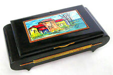 1960's PierGiovanni Signed Painted Ceramic Black Lacquer Jewelry Music Box-Works