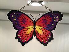 "Joan Baker Designs Stained Painted Glass, 4x6"" Purple & Orange Butterfly"