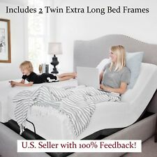 2 Split King Electric Bed Frame Adjustable Base Massage Wireless Remote Medical