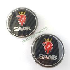 2pcs 68mm Front Hood Rear Trunk Logo Carbon Fiber Emblem for Saab 9-3 93 95