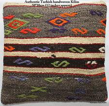 (30*30cm, 12inch) Turkish handwoven kilim cushion cover greys orange lime