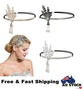 1920s Great Gatsby Headband Vintage Bridal Flapper Headpiece Gangster Costume AU