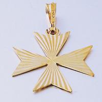 MALTESE CROSS Jewellery Hallmarked 18ct 18k Gold Pendant Charm 750 Made in Malta