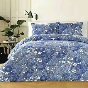 NEW Marimekko Mynsteri Queen Duvet Cover Blue White SOLD OUT 60s Abstract Floral
